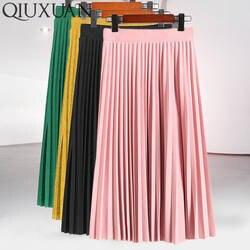 Женская мода Высокая талия однотонная плиссированная юбка длиной до лодыжки универсальная шифоновая Одежда Женская Повседневная