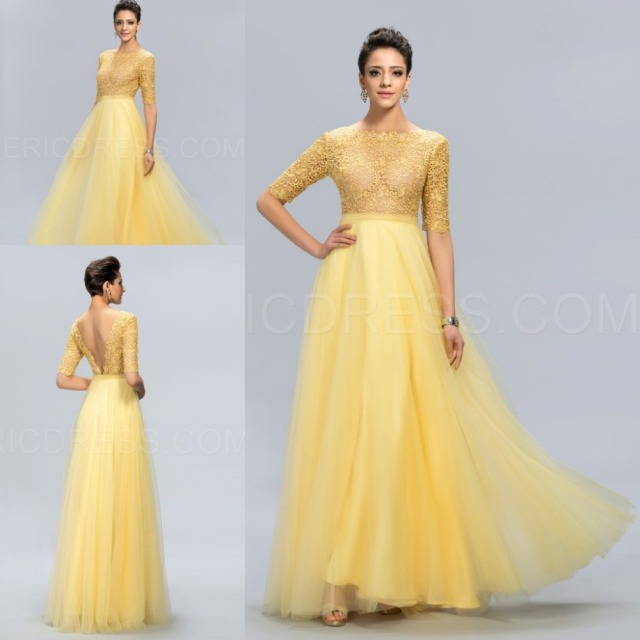 456fc5beb8ca9 Latest Design Prom Long Lace Yellow A-Line Evening Dress 2015 Graceful Open  Back Evening Gown See Througn Half Sleeve Party Gown