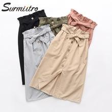 Женская хлопковая юбка миди с ремнем Surmiitro, трапециевидная юбка и высокой талией длиной до колен для женщин на весну лето осень