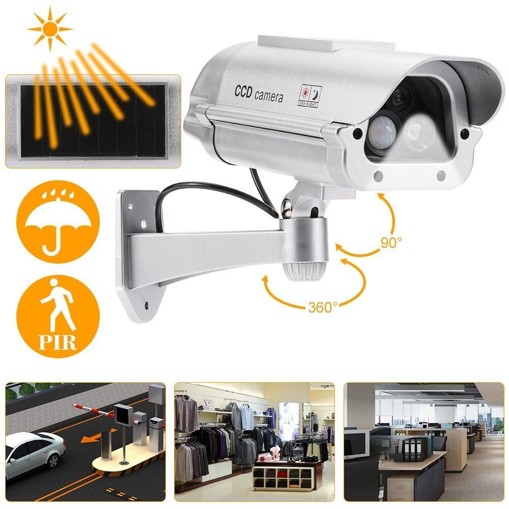 Solar Powered Security Dummy Camera With Flashlight Human Sensor Waterproof Fake Surveillance Simulation Camera|Surveillance Cameras| |  - title=