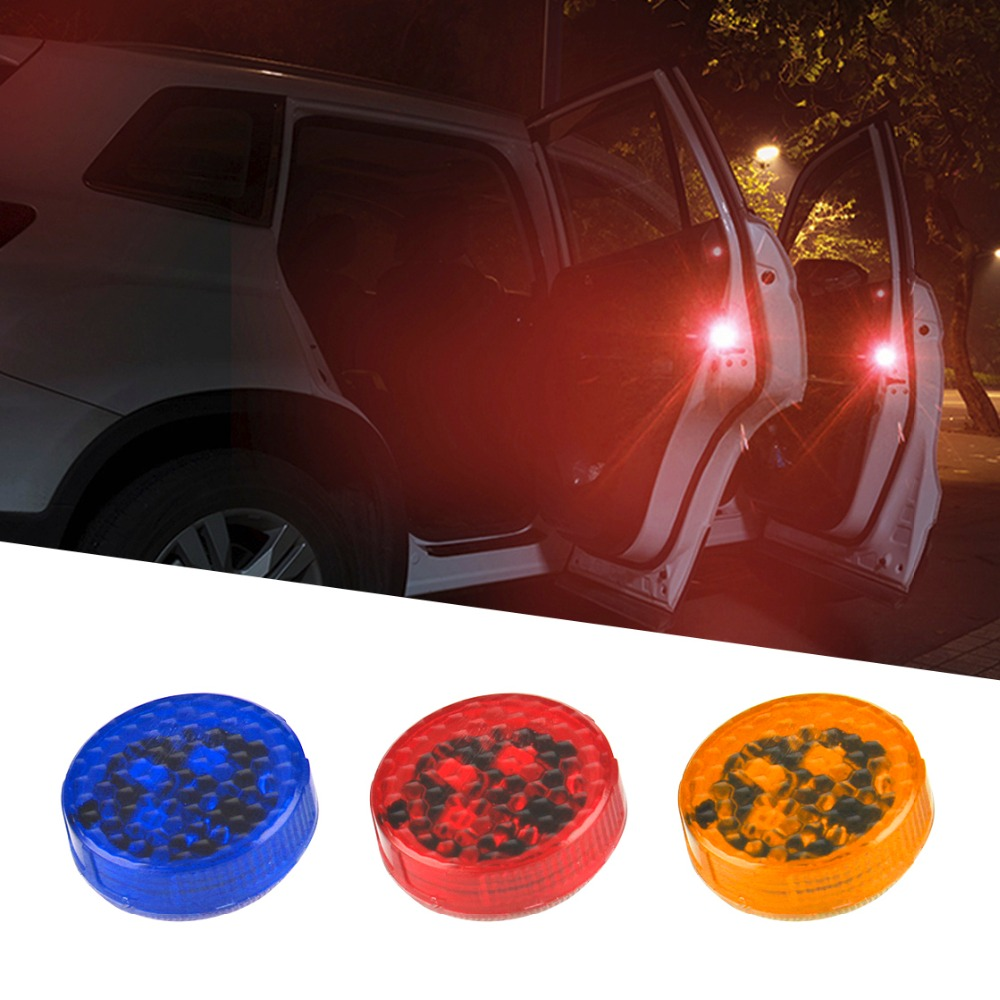 4PCS Car-Styling Anti Collision Car Door Light Strobe Light Rearing Warning Light For Audi Luxel Nissa Golf5 Red/Yellow/Blue