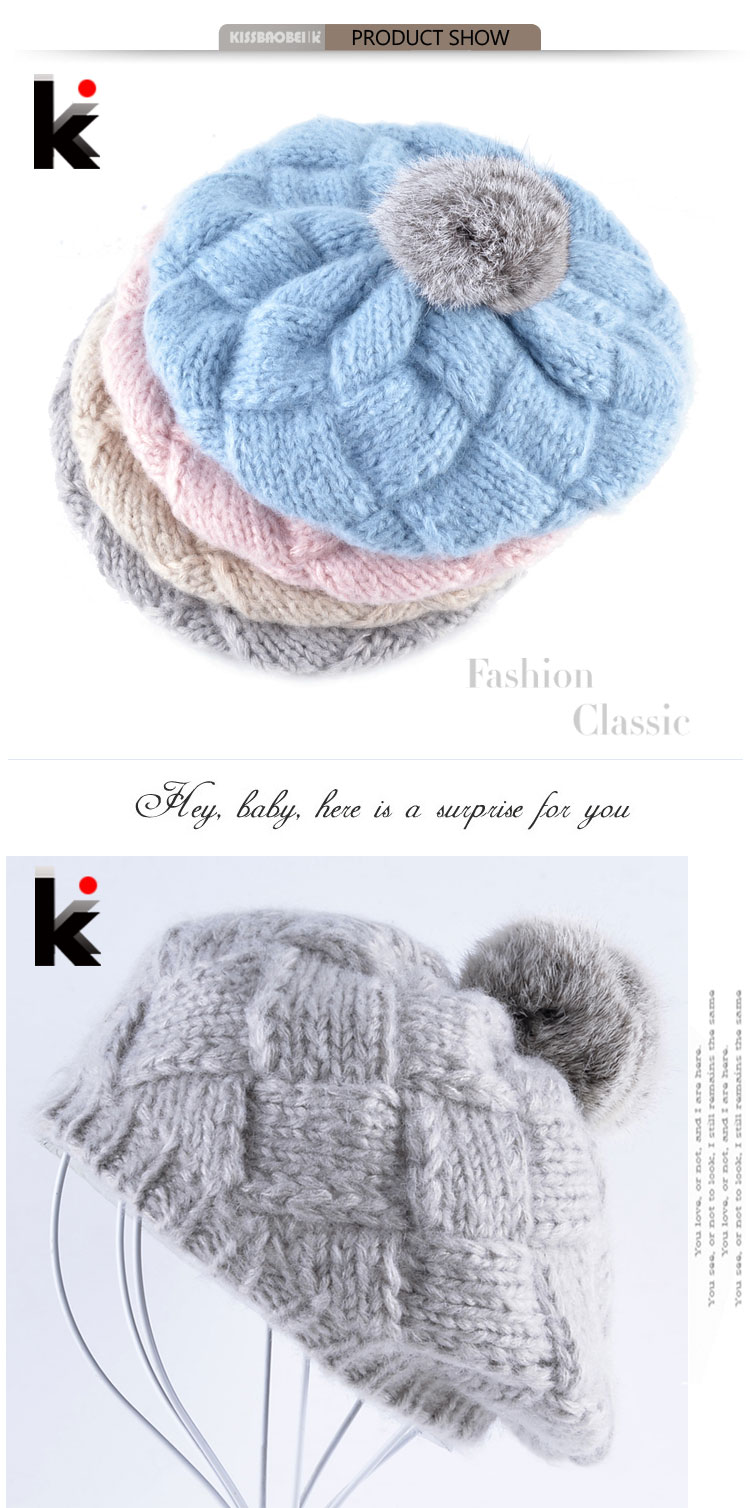 78cdd4819df Winter Women s Berets Real Rabbit Fur PomPom Knitted Wool Hat Ladies Autumn  Flat Caps Female Beret Hats For Women Boina Feminina