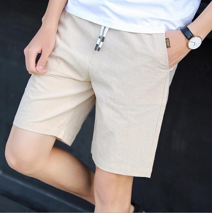 Multi color optional men's casual shorts Korean version trim trend cotton and linen five minute YEE 234