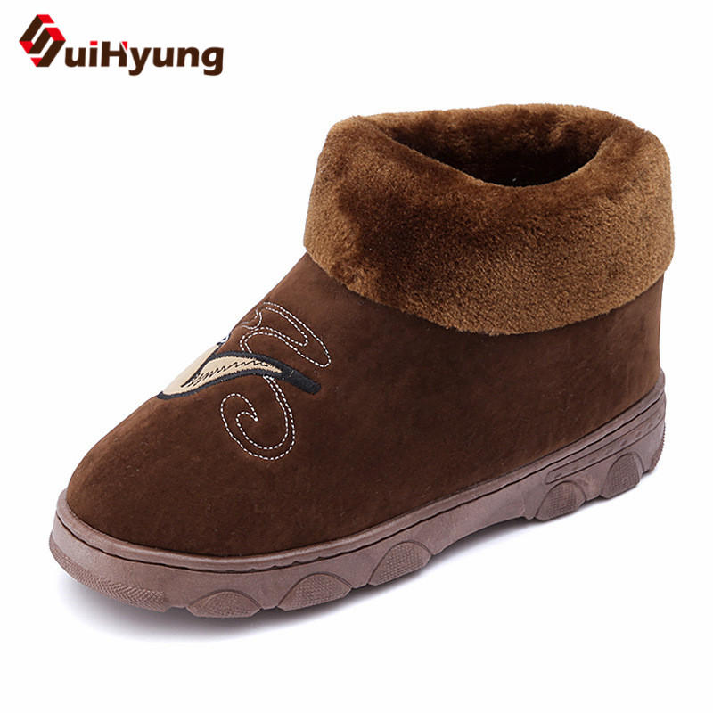 Suihyung Plus Size 2018 New Winter Men Short Boots Flats Flock Warm Snow Boots Thick Plush Indoor Cotton Shoes Male Casual Botas