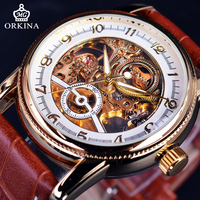 Orkina 2017 Royal Carving Design Golden Skeleton Inside Brown Leather Strap Men Watches Top Brand Luxury