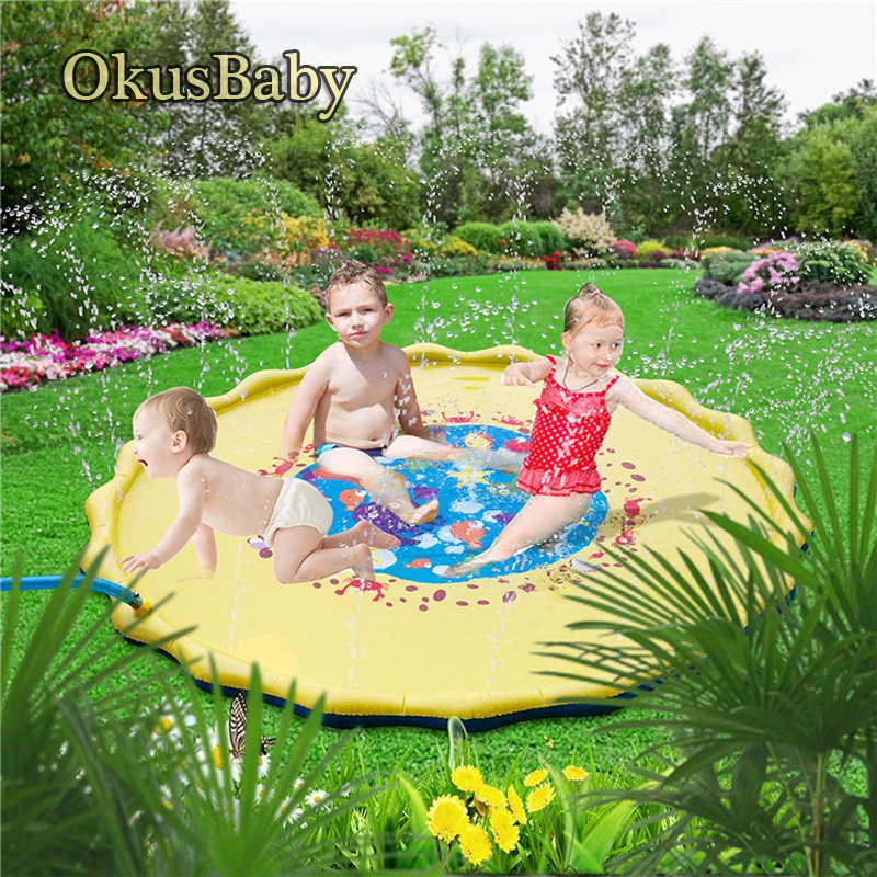 170cm Summer Inflatable Children's Outdoor Play Water Games Beach Mat Spray Water Lawn Sprinkler Cushion Toys Pad Fun For Baby