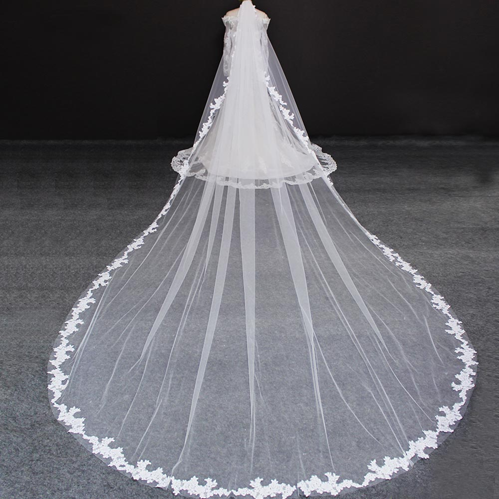 Wedding-Veil Ivory Welon 5-Meters Voile Comb Mariage Lace-Edge White Long One-Layer