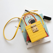 Fashion crocodile Genuine Leather Top-Handle Bags leather Strap Women Shoulder Bag Box Shape Solid Color Crossbody For