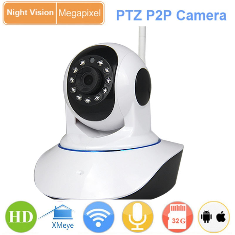 1.0MP 720P HD Night Vision Wireless WiFi Pan Tilt P2P IP Camera IR-CUT Network P/T SD Card Indoor Baby Monitor Webcam IPC Camera escam hd 720p ir night vision ir cut 1 0mp wireless wifi ip camera pan tilt security mini indoor camera support 32g card qf001
