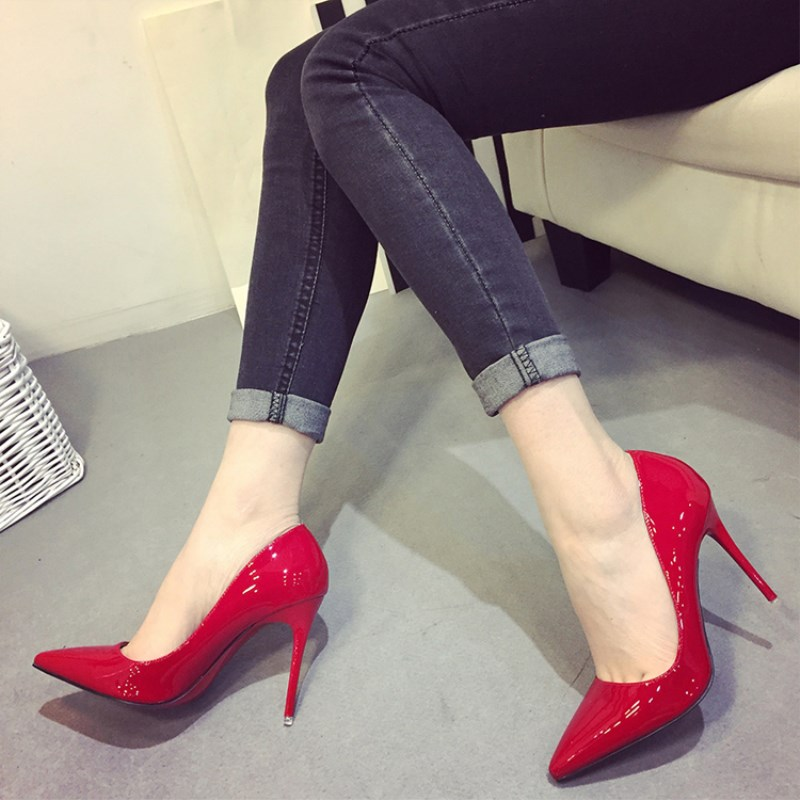 SLHJC High Heels Shoes Women All Match Party Wedding Office Pump Sexy Thin Heel Pointed Toe