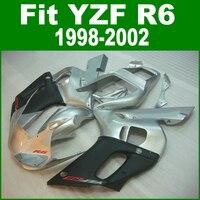 Серебряный Обтекатели для Yamaha R6 98 02 Abs обтекатель комплект (черный) Бесплатная доставка и настроить ll18