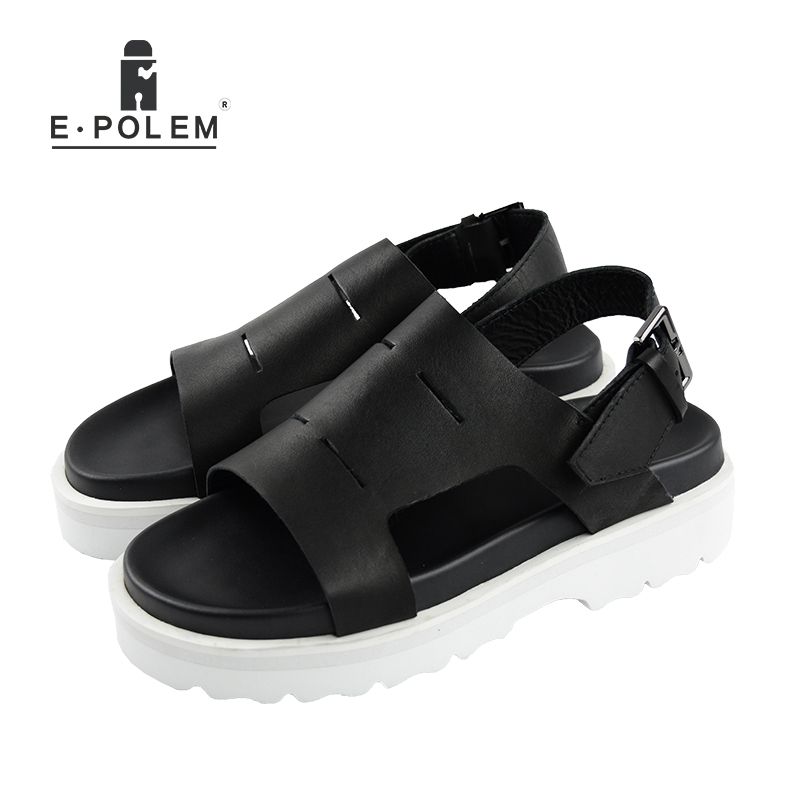 2017 Summer New England Style Men Black Retro Breathable Genuine Leather Sandals Fashion Casual Height Increasing Sandals