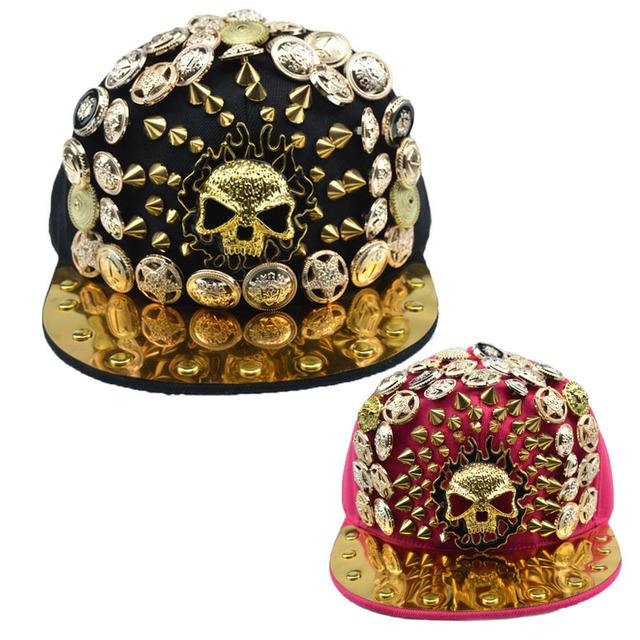 Kito rebites de metal do punk europeu e Americano chapéu hop chapéu homens e mulheres chapéu de basebol