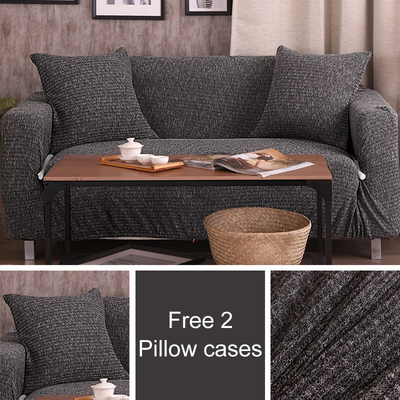 Free 2 pillow Melange knitting slipcovers Sofa cover Big Elasticity stretch Couch cover Loveseat sofa Funiture