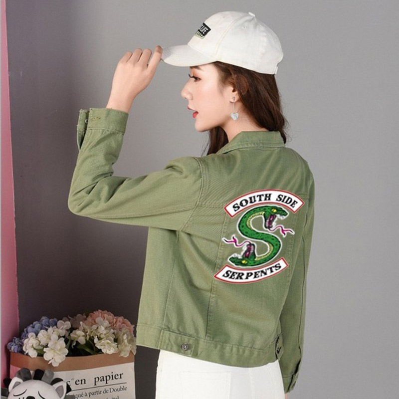 Hot riverdale Women's denim jacket female short paragraph wild slim denim jacket coat female