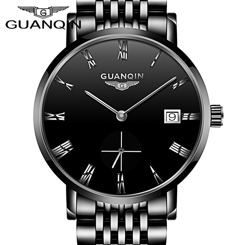 GUANQIN Ultra Thin Watches Men Luxury Brand Automatic Mechanical Watch Auto Date Waterproof Full Steel Watch Sapphire Male Clock 2017ailang luxury brand new ultra thin automatic mechanical watches is simple and stylish men watch sapphire watch steel