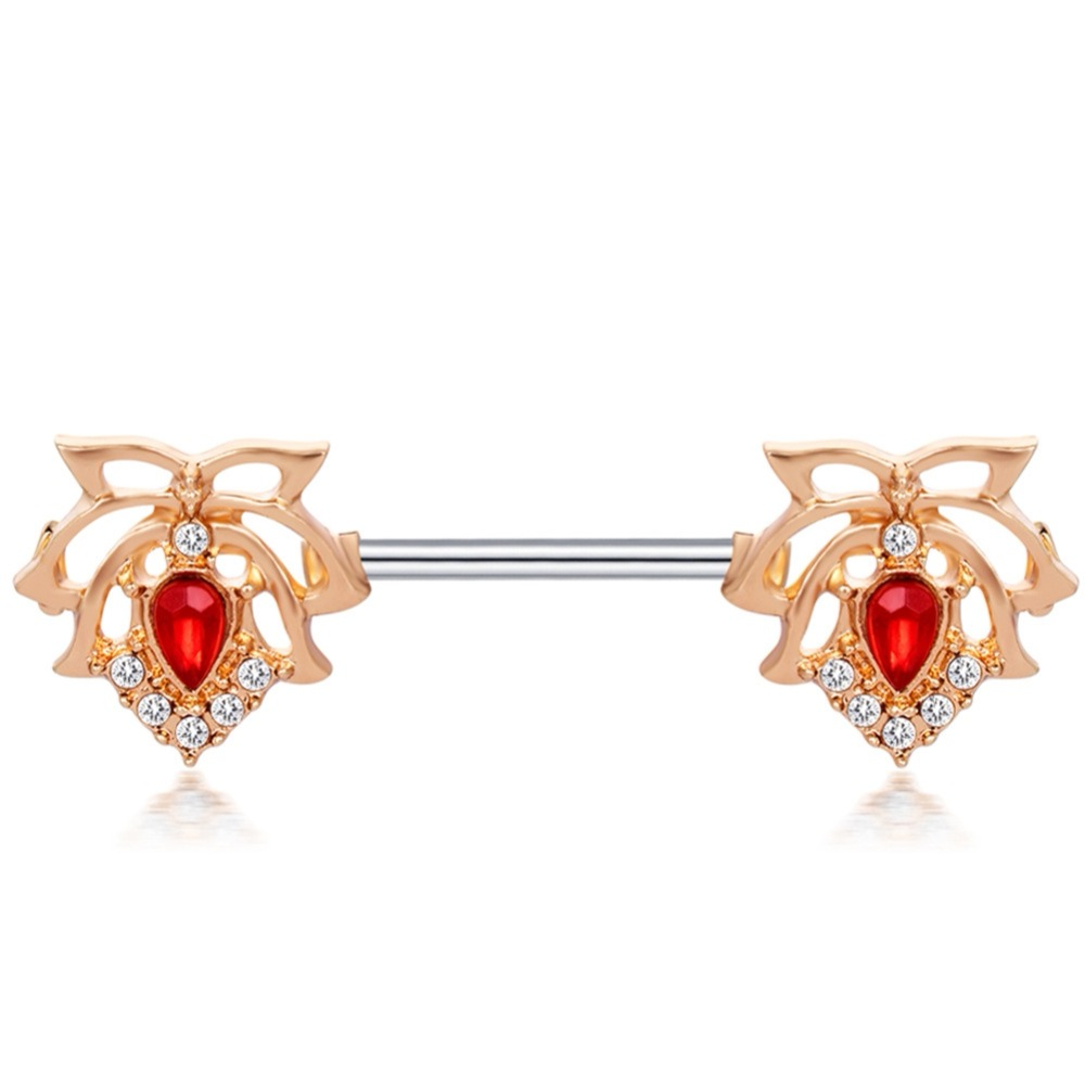 Imixlot Stainless Steel Flowers Nipple Piercings With Red -2149
