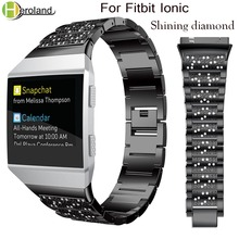 Luxury Crystal Alloy steel Watchband for Fitbit Ionic straps Smart Accessories Replacement Wristband smart Watches with diamond
