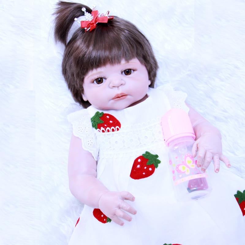 55 cm Full Body Silicone Reborn Dolls baby Toys 22 bebe ragazza Principessa Toddler Bambini Bambole Bagno Toy bonecas reborn55 cm Full Body Silicone Reborn Dolls baby Toys 22 bebe ragazza Principessa Toddler Bambini Bambole Bagno Toy bonecas reborn