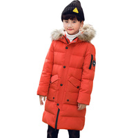 Winter Big Boys Down Jacket Warm Thick White Duck Down Parkas Casual Natural Fur Hooded Boys Jackets Coats BC383