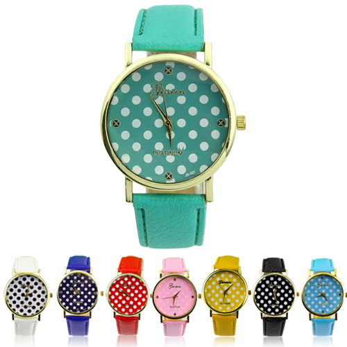 2014 new woman Colorful Girl's Women's Sweet Small Dots Geneva Leather Quartz Wrist Watch 04KR 2389