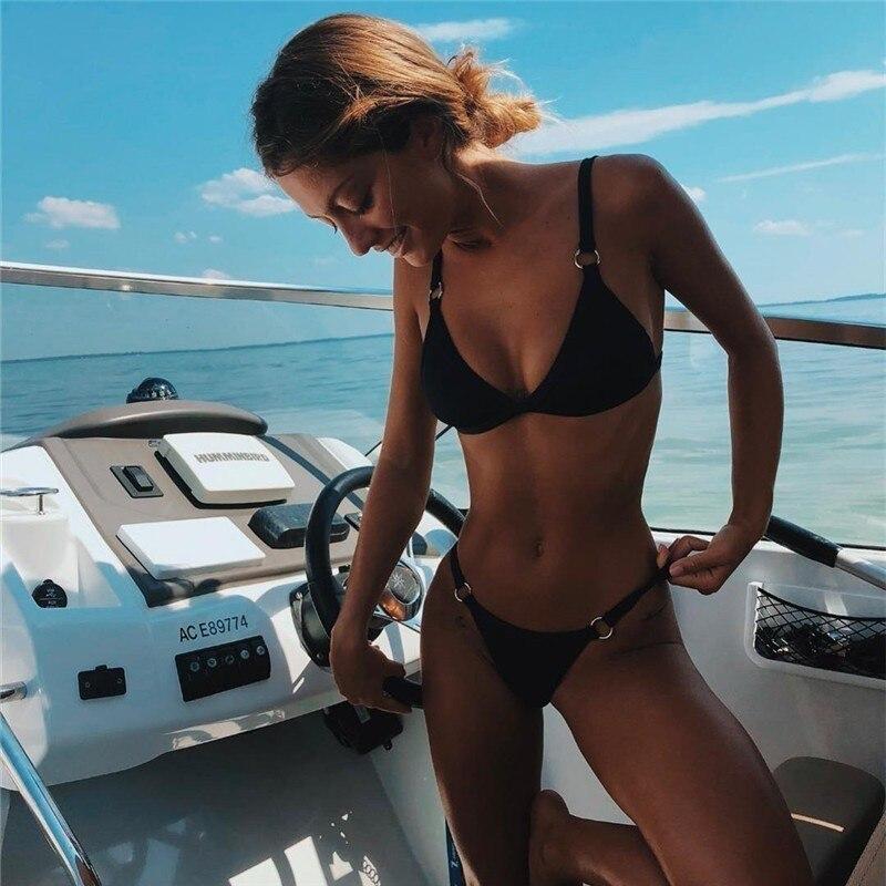 HTB1BYJgUHrpK1RjSZTEq6AWAVXar Women Sexy Brazilian Swimsuit Solid Low Waist Swimwear Bikini Set Summer Yellow Bathing Suit Female Beach Wear Biquini