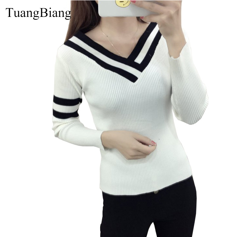 2018 New Autumn Winter Woman's Sweater Bottoming Pullovers Slim Sweaters V Neck Sexy Long Sleeves Sweaters Black White Striped