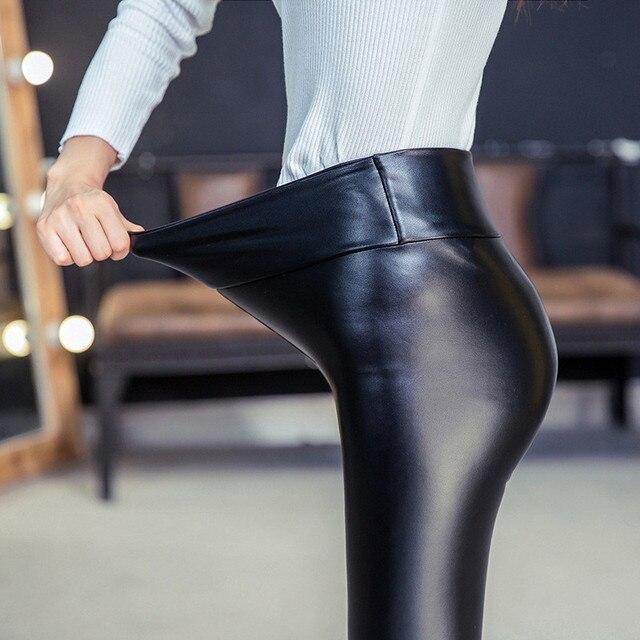 2016 Plus Size XXL Winter Womens PU Leather Pants High Elastic Waist Leggings Not Crack Slim Leather Fleece Trousers Women DK10