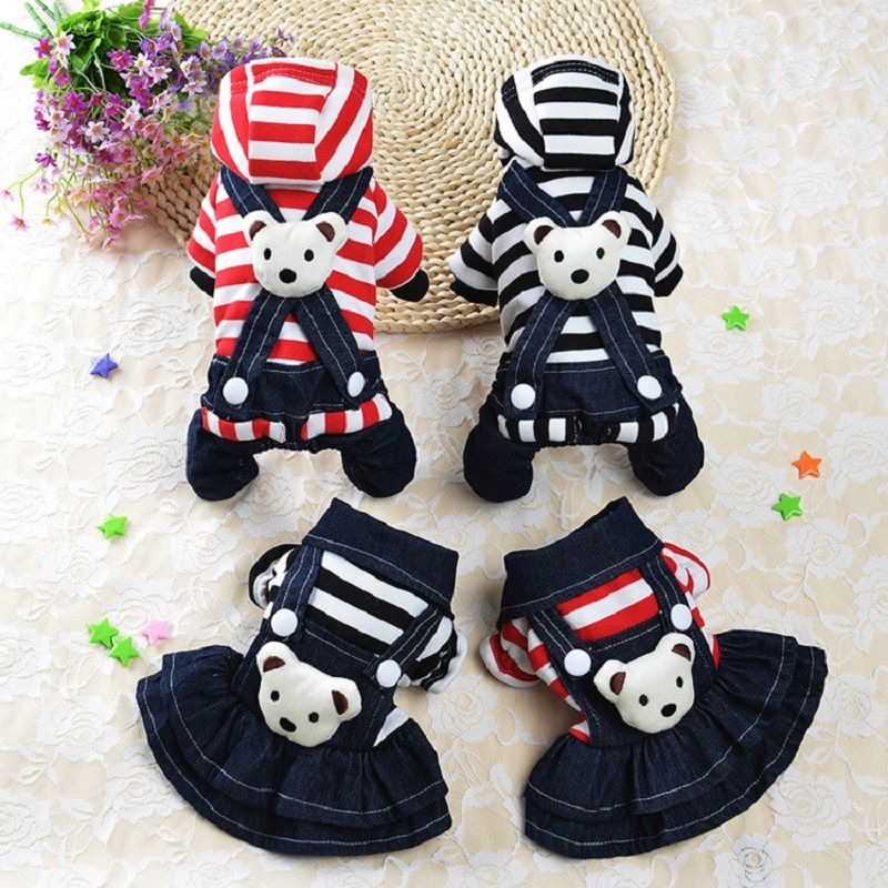 Pet Dog Clothes For Small Dogs Winter Dog Coat Cotton Striped Strap Bear Denim Dress Puppy Chihuahua Clothing Apparel Costume