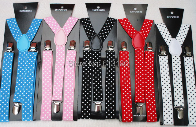 Free Shipping  New Fashion Women Adjustable Clip -On Black White Blue Polka Dot  Elastic Suspenders And Braces Dotted Ladies