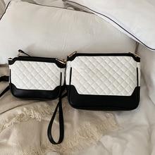 купить 2019 PU Leather Women Messenger Bag Plaid Ladies Crossbody Bag Chain Trendy big Small shoulder bag Shopping Handbag black white по цене 1096.16 рублей