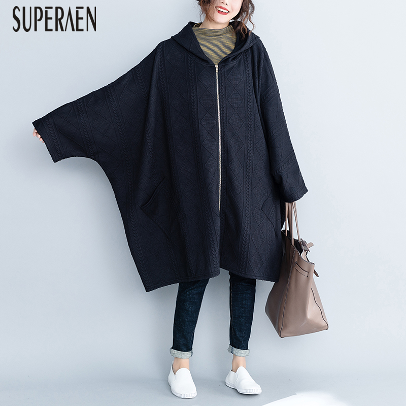 SuperAen Bat Sleeves   Trench   Coat for Women Cotton Casual Wild Zipper Hooded Ladies Windbreaker New Autumn and Winter 2018