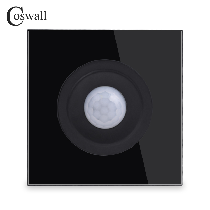 Coswall Crystal Tempered Glass Black Panel Human Body Motion Sensor Switch Wall Interruptor Power Light Conmutador R11 SeriesCoswall Crystal Tempered Glass Black Panel Human Body Motion Sensor Switch Wall Interruptor Power Light Conmutador R11 Series