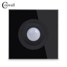 Coswall interruptor de parede, painel de vidro temperado cristal sensor de movimento do corpo humano interruptor de luz de parede ajustável atraso de tempo e distância de indução