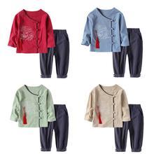 Весенняя одежда для детей 2 шт./компл. хлопок Конфуций китайского Hanfu детские для мальчиков и девочек для занятий кунг-фу, в традиционном китайском стиле костюм для детей, комплект одежды