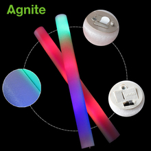 Agnite Colorful Flash Sponge Glow Bubble Stick Concert LED Electronic Glow Sticks Soccer Game Fans Cheer Cheerleading Supplies