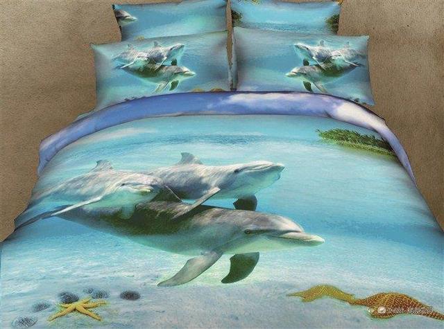 drap housse dauphin 3D bleu housses de couette dauphin ensemble de literie filles drap  drap housse dauphin