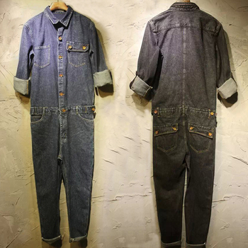 Europe and the United States retro jeans jumsuit tide men's trousers casual large size cowboy shirt trousers tooling Siamese