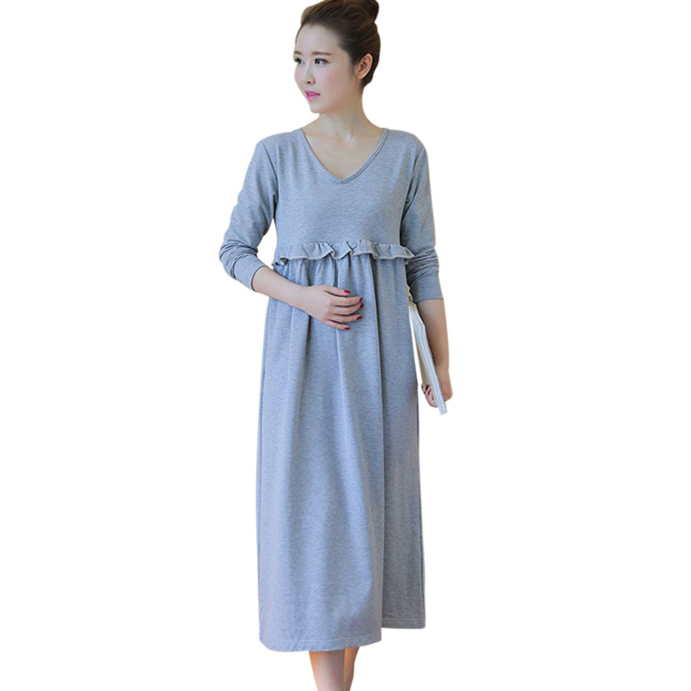 Fashion Maternity Dresses Pregnant Cotton Blend Pregnancy Clothing Long Sleeve V-Neck Loose Dress Pregnant Woman Photography