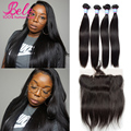 7A Hot Peruvian Virgin Hair Straight 4 Bundles With Closure 13x4 Ear To Ear Lace Frontal Closure With Bundle Human Hair Straight