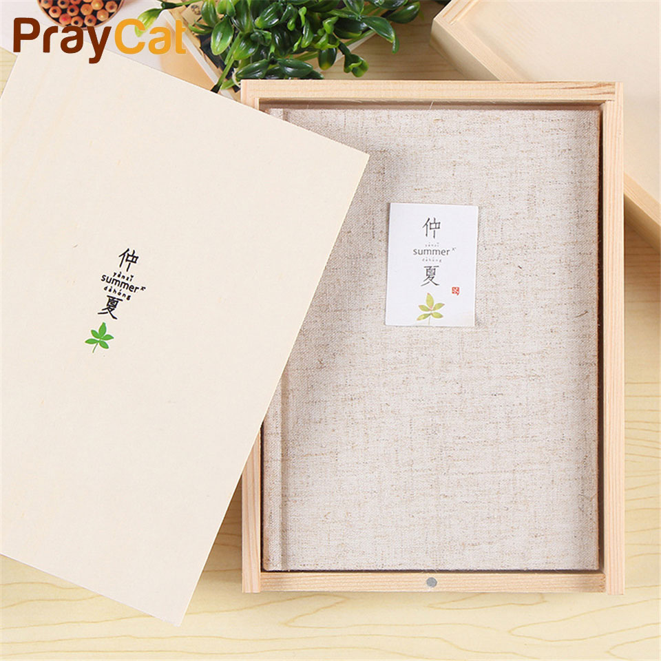 A5 Wooden Boxed Notebook Cotton Kawaii Joural Travelers Diary Notepad Business School Office Supply prospector boxed rtf
