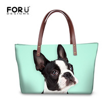 ФОТО large capacity women handbags cute dog boston terrier puppy printed bags casual tote bags for ladies shopper single shoulder bag