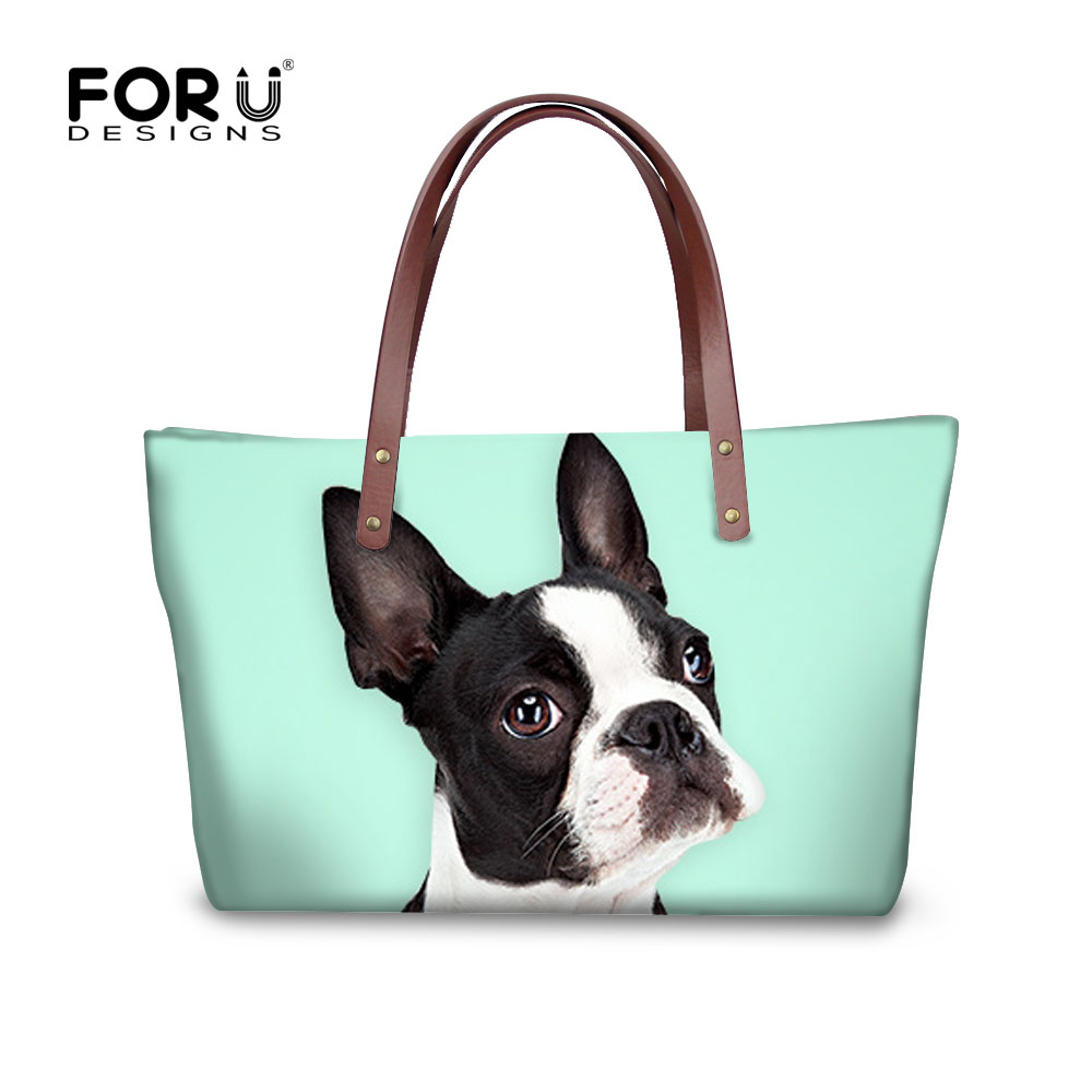 Cute Dog Pet Leisure Fashion PU Leather Handbag for Women Large Tote Bag Shoulder Bag for Gym Beach Travel Daily Bags