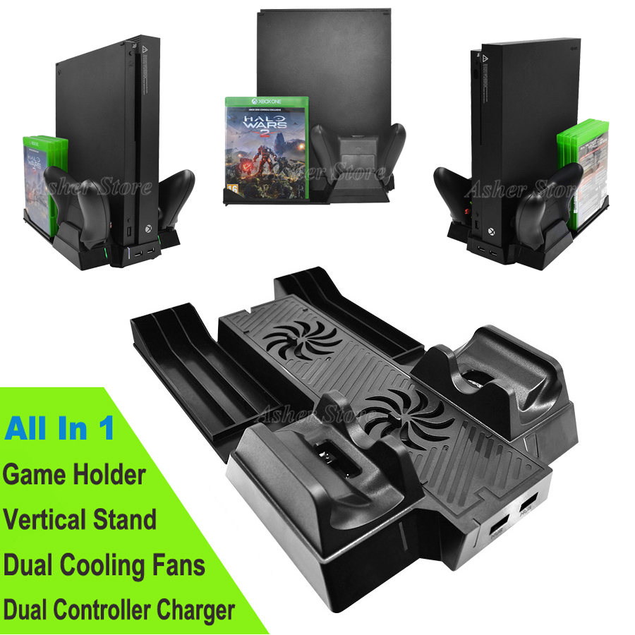 For Xbox One X Vertical Stand Controller Charger Charging Dock Station Cooler Cooling Fan Game Holder for X Box One X Console