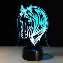 7 Colors Changing Animal Horse 3D Led Night Light 3D LED Amimal Desk Table  Lamp as 1dcfc902d331