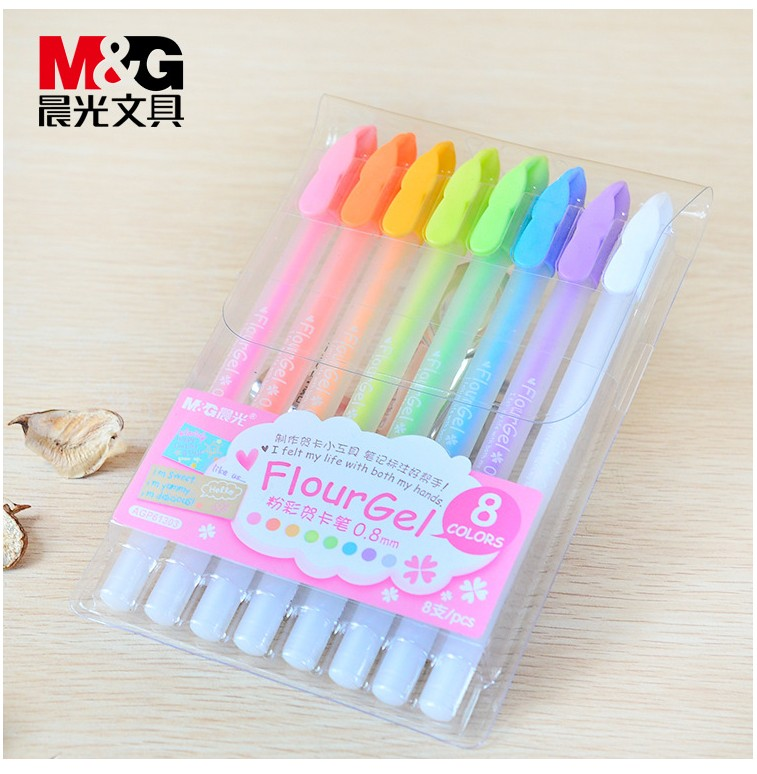 8 Pcs/set 0.8mm gel pens clear Color good Material Stationery School Office Supplies Ball Point Gel Pen Highlighter Pencil mini s size pencil bag pencil case pen stationery storage art school office home supplies transparent pens holder fashion gifts