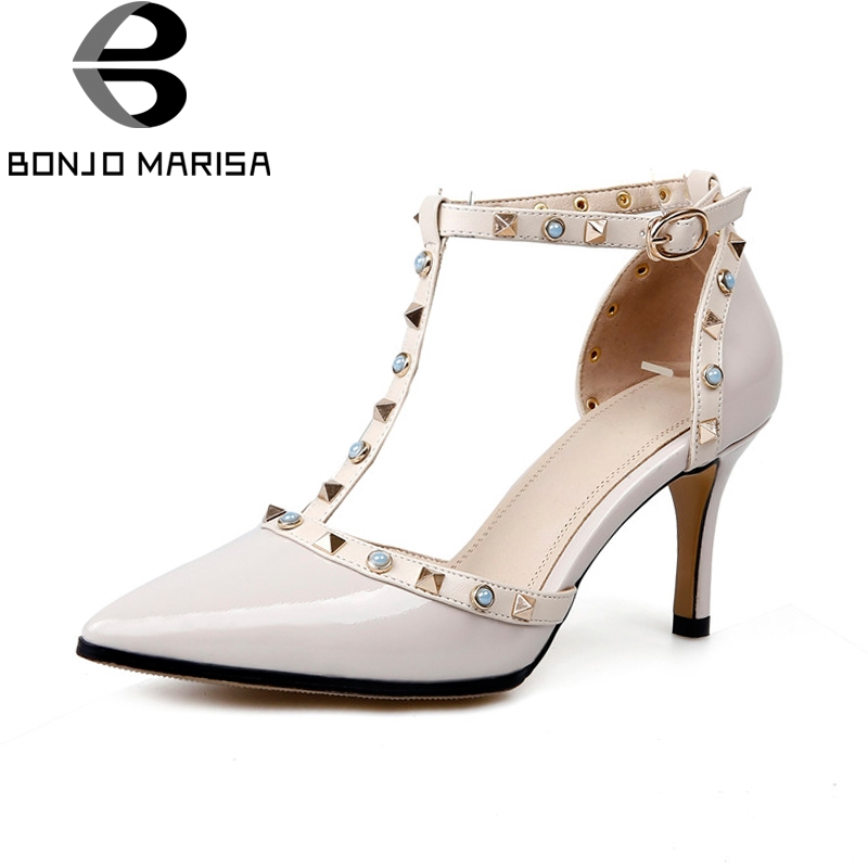 BONJOMARISA New women's Genuine Leather Thin Heels T-Strap Rivet Pointed Toe Shoes Woman Casual Party Pumps Size 34-39 fashion genuine leather shoes woman pumps 2016 new sexy wedges high heels round toe lace up women casual party shoes size 34 39