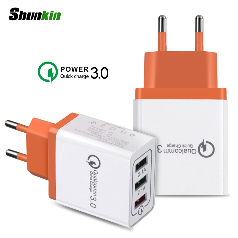 Quick Charge 3.0 3 Ports USB Charger With Micro Type C Type-C USB Cable Travel Wall Fast C