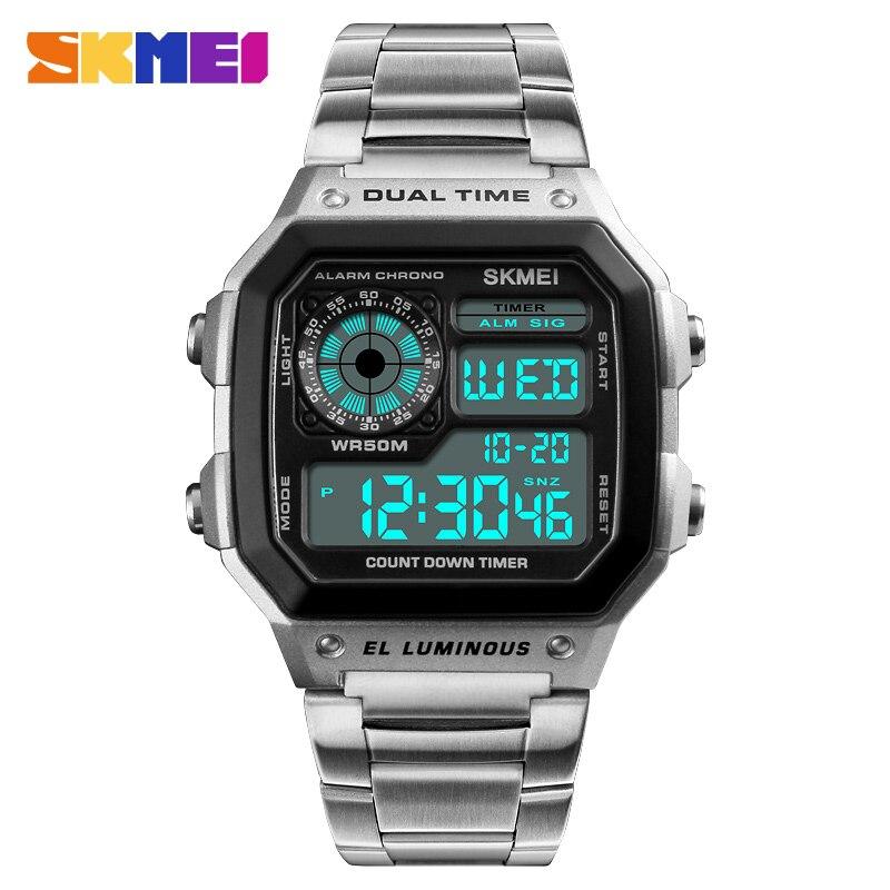SKMEI acier inoxydable mode montre numérique hommes Sports montre de plein air lumineux étanche montre hommes horloge Relogio Masculino 1335