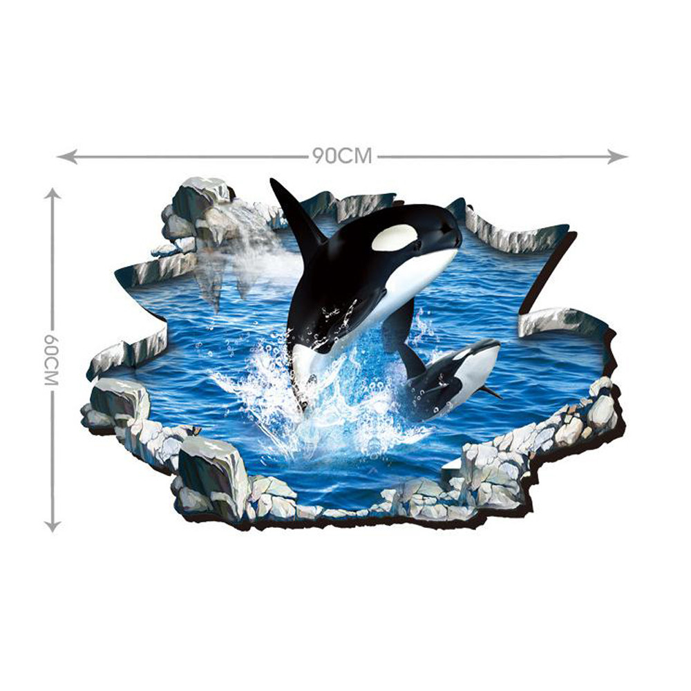 From the window to the wall whale - 3d Whales Floor Wall Sticker Removable Mural Decals Vinyl Art For Living Room Home Decoration